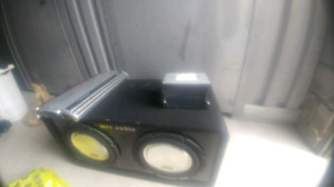"Car system 12"" subs , 1200w amp , double din deck"