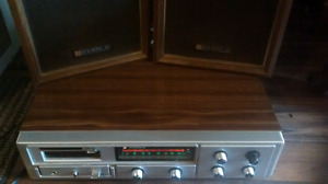 Vintage Candle radio/8 track with speakers