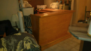 L shape oak bar