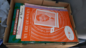 Box of sheet music and song books