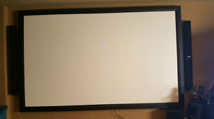 "110"" Projector Screen, Projector & Surround Sound"