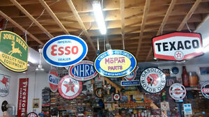 LARGE TRIUMPH HARLEY NORTON INDIAN AND BSA CYCLE SIGNS