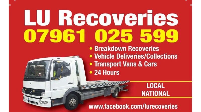 LU Breakdown Vehicle recovery/collection and delivery tow service for Vans,Cars and Bikes