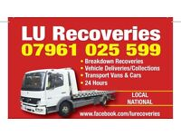 LU Breakdown Vehicle recovery/collection and delivery transport tow service for Vans,Cars and Bikes