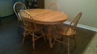 Solid birch double pedestal oval table and chairs