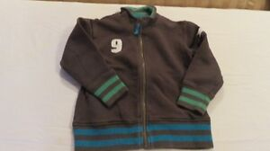 Authentic Boys Mini Boden Knit Jacket Zip Front Brown Size 5-6