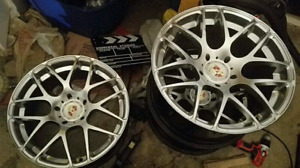 """19"""" rims and tires. Aventagarde ruger mesh wheels and Hankook"""