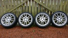 "Quick sale needed VW golf/skoda 4 of 5x100 17"" Alutec Monstr wheels"