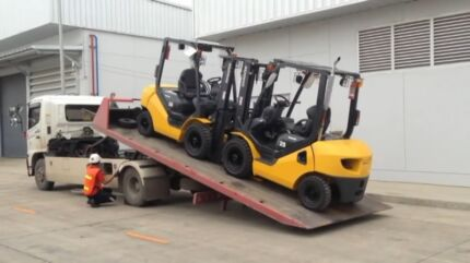 Cheapest Transport Tilt Tray Towing services forklift bobcat machinery