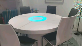 White Gloss round LED dining table & chairs