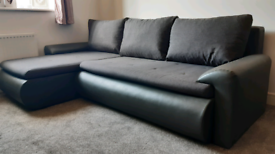 Corner Sofa Bed in Grey Faux Leather and Fabric with Storage - hardly used, excellent condition