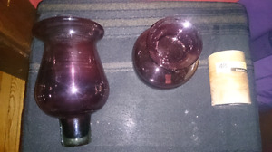 Glass candle holder with candle