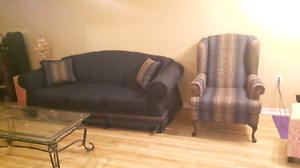 Couch and wing back chair