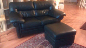 Leather Love Seat and Ottoman