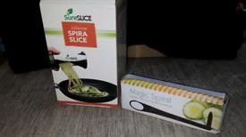 Spiral slice vegetable/salad cutters
