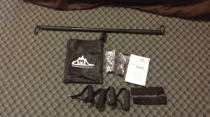 Set of resistance bands and bar for sale.