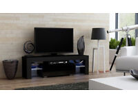 TV UNIT STAND 130cm CABINET HIGH GLOSS BLACK WITH FREE LED RGB COMES WITH DRAWER