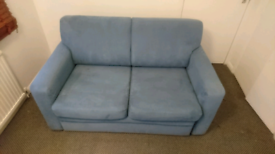 John Lewis Sofa Bed Picasso Suede with Storage Blue Turquoise Teal