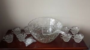 Anchor Hocking Punch Bowl set with cups and ladle