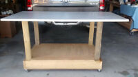 SOLID WORKBENCH 6Ft x 3Ft and 11/4 inch top with casters