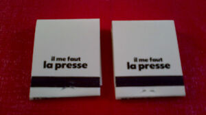 Matchbook Covers-La Presse Newspaper, Montreal Kitchener / Waterloo Kitchener Area image 1