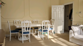 Gorgeous neoclassical solid oak dining table + 8 chairs