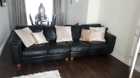 DFS black Italian leather 4 sofa and chair