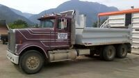 International tandem dump truck with trailer