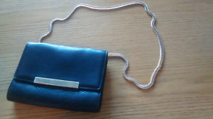 Brand New Black Leather Purse with Gold Chain Strap