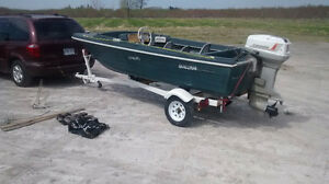 ** 14ft fishing boat + trailer + 50 hp Evinrude + extras