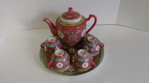 Vintage Chinese 6pc Tea Set - Rose