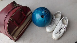 Bowling ball, shoes and leather bag - reduced price