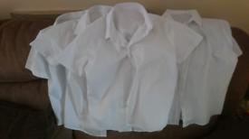 School uniform girl white shirt x 5, 7-8y