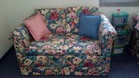 Flowered loveseat, 2 wing chairs, lamp, side table