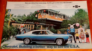 1972 CHEVELLE MALIBU COUPE AD WITH SIX FLAGS TRAIN - ANONCE 70S