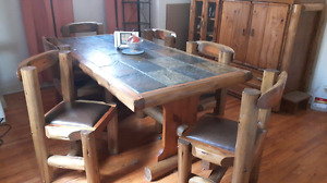 RUSTIC LOG 6 CHAIR DINING SET WITH BAR