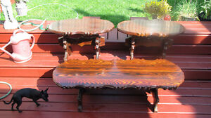 Vintage 1970's Hand Crafted 3 Piece Table Set
