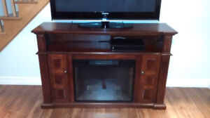 TV stand with insert electric fireplace