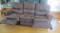 sofa couch brun brown reclining inclinable