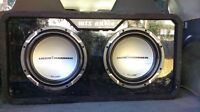 Two jackhammer subs and amp in box!
