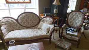 Victorian carved settee & chair buy set or separate