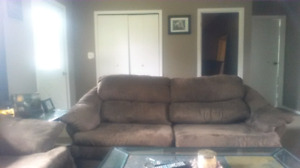 3 piece couch love seat chair suade chocolate brown