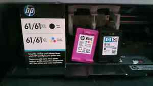 HP 61xl black and tri-color ink cartridges