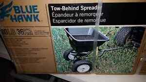 Tow behind grass fertilizer spreader