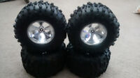 BRAND NEW * 4 x 1/8 SCALE LOSI CHROME WHEELS LOSI CLAW TIRES