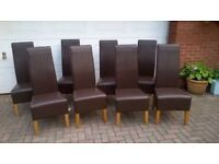Set of 8 Brown Faux Leather Dining Chairs