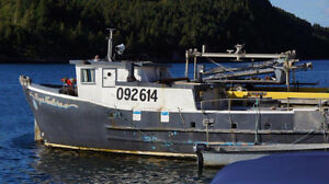 45' Glass/wood bare boat