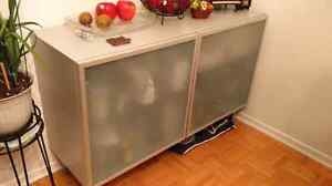 IKEA Besta Storage Cabinet with frosted aluminum glass frame