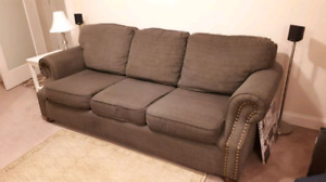 3 seat green/gray couch