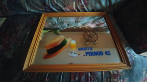 Vintage 1970's Anisette Pernod 45 Picture Mirror